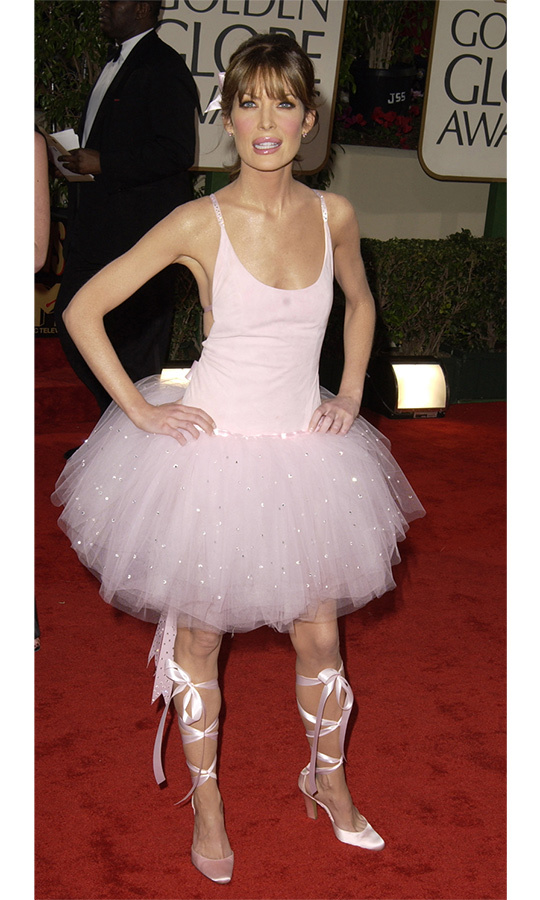 This ballerina look on <em>The Practice</em> star Lara Flynn Boyle will go down in Golden Globes history! The actress paired a pink leotard and tutu skirt with matching lace-up pumps and a pink ribbon in her hair. 