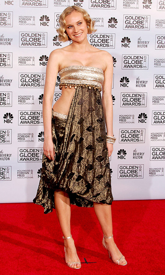 "<a href=""/tags/0/diane-kruger/"">Diane Kruger</a> is celebrated for her flawless style, but the Marchesa design she wore to make her Golden Globes debut in 2005 left some fans scratching their heads. She paired the draped, bandeau design with short, tight curls. 