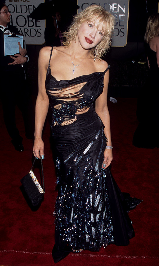 Former nominee Courtney Love arrived on the red carpet in 2000 in a risky number that featured a tattered bodice.