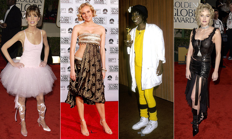 "From slashed gowns to ballerina attire and yellow athletic socks with Reeboks, stars like Lara Flynn Boyle, Whoopi Goldberg and Sharon Stone will go down in <a href=""/tags/0/golden-globes/"">Golden Globe</a> fashion history! Click through to see the award show's most unexpected looks ever..."