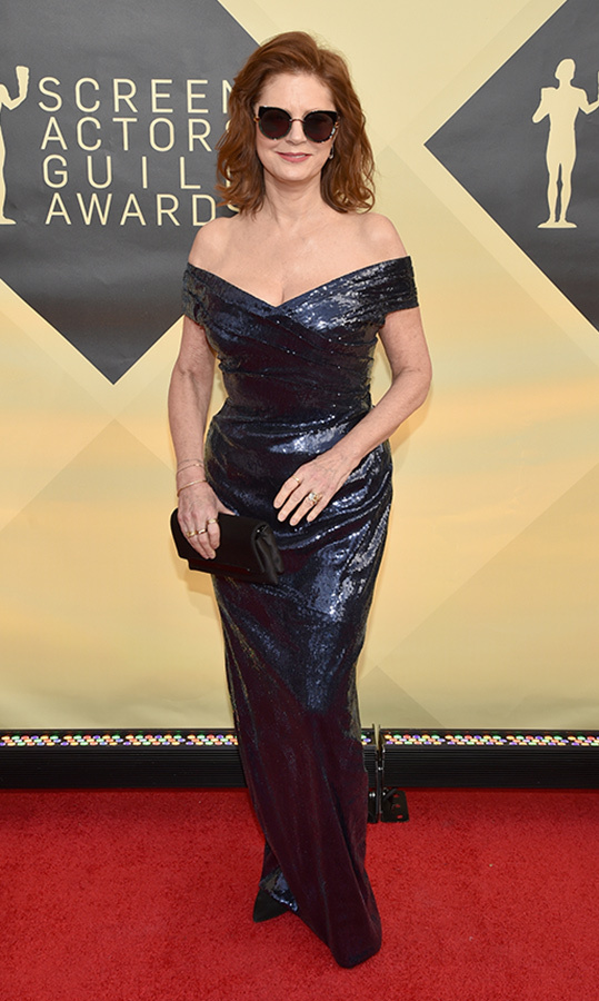 "<a href=""/tags/0/susan-sarandon/"">Susan Sarandon</a>, 72, wore the chicest pair of shades with her glittering gown at the Screen Actors Guild Awards in January. Her navy blue off-shoulder dress perfectly flattered her incredible figure as she kept the accessories to a minimum with just a few delicate rings and a black clutch.