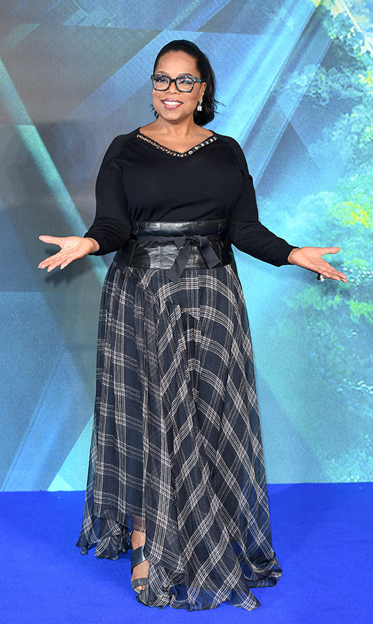 "<a href=""/tags/0/oprah/"">Oprah Winfrey</a>, 64, was pretty in plaid for the European premiere of her film <em>A Wrinkle In Time</em> in March. The former talk show host paired the patterned skirt with a simple black blouse, a wide leather belt and her signature glasses.