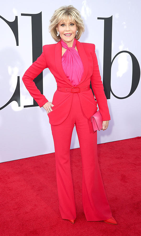 "<a href=""/tags/0/jane-fonda/"">Jane Fonda</a>, 81, brought major colour to the red carpet at the <em>Book Club</em> premiere in May. She looked incredible in a red Brandon Maxwell suit, boasting a pair of wide-legged trousers and a ruched bubblegum-pink top underneath, plus the chicest matching pumps.