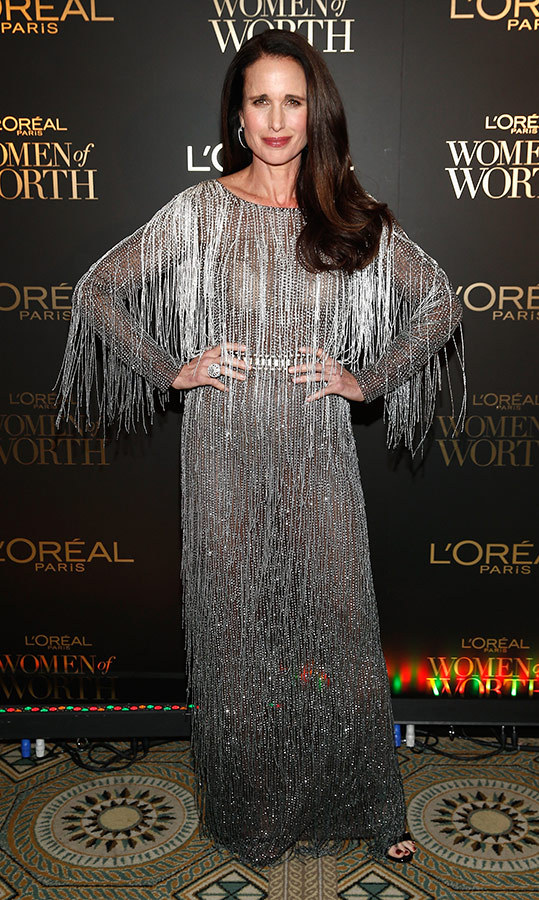 "<a href=""/tags/0/andie-macdowell/"">Andie MacDowell</a>, 60, gave us major fierce flapper vibes in this fringed silver Alberta Ferretti Limited Edition gown! She debuted the incredible look at the L'Oréal Paris Women of Worth Celebration in December.