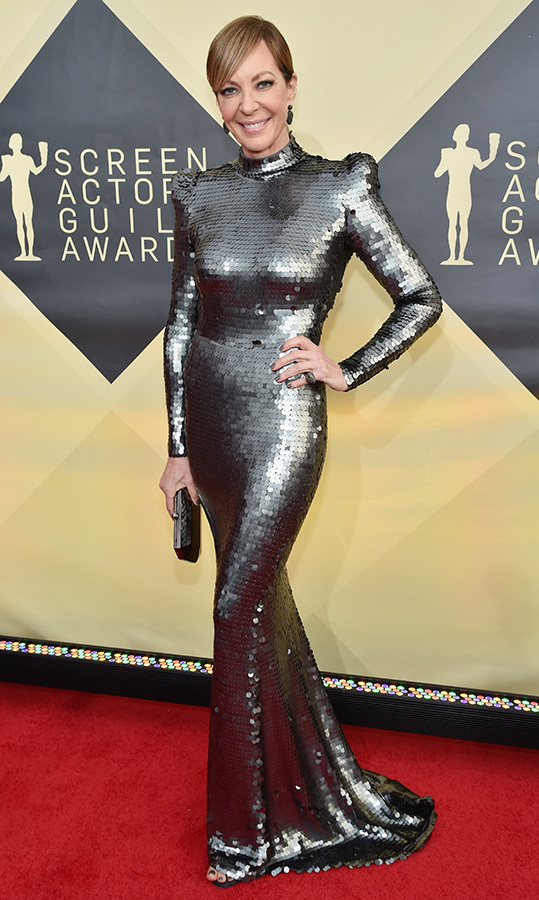 "<em>I, Tonya</em> star <a href=""/tags/0/allison-janney/"">Allison Janney</a>, 59, served a futuristic look at the Screen Actors Guild Awards. The metallic Yanina Couture creation boasted accentuated shoulders, a chic high neckline and a mermaid-style fit.