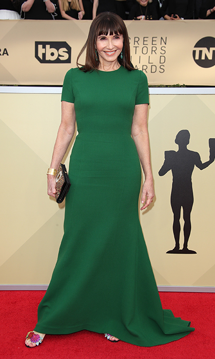Mary Steenburgen, 65, definitely made us green with envy in her stunningly simple emerald Oscar de la Renta gown for the Screen Actors Guild Awards in January. She anchored the look with a pair of colourful heels alongside a simple clutch and her trademark sleek brown bangs.