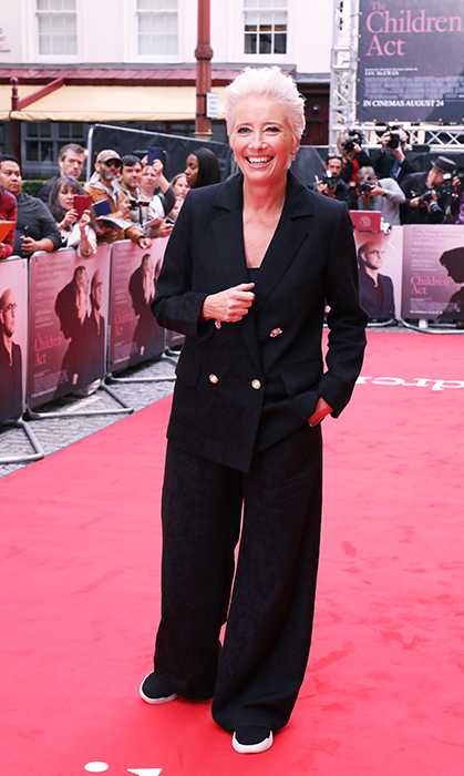 "<a href=""/tags/0/emma-thompson/"">Emma Thompson</a>, 59, is the epitome of cool! The film industry veteran wore a double-breasted black pantsuit with wide trousers and black-and-white sneakers to the UK Premiere of <em>The Children Act </em> in August.