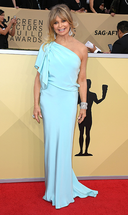 "<a href=""/tags/0/goldie-hawn/"">Goldie Hawn</a>, 73, couldn't have chosen a more beautiful Monique Lhuillier gown for the Screen Actors Guild Awards in January. Later posing alongside her daughter, Kate Hudson, the mother of three was a vision in the sky blue, one-shoulder dress, accessorizing with a large cuff bracelet and chandelier earrings.