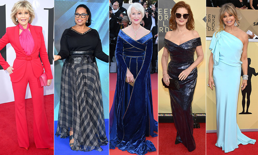 "There's no question that some of Hollywood's most iconic veteran talents have looking fabulous over 50 down to an art! From <a href=""/tags/0/jane-fonda/"">Jane Fonda</a>'s striking red pantsuit to <a href=""/tags/0/oprah/"">Oprah</a>'s chic plaid, <a href=""/tags/0/helen-mirren/"">Helen Mirren</a>'s royal blue velvet, <a href=""/tags/0/susan-sarandon/"">Susan Sarandon</a>'s sexy sequins and <a href=""/tags/0/goldie-hawn/"">Goldie Hawn</a>'s jaw-dropping pastel-blue creation, we've rounded up some of the best red-carpet looks from 2018, straight from the ladies who have paved the sartorial way for talent to come! 