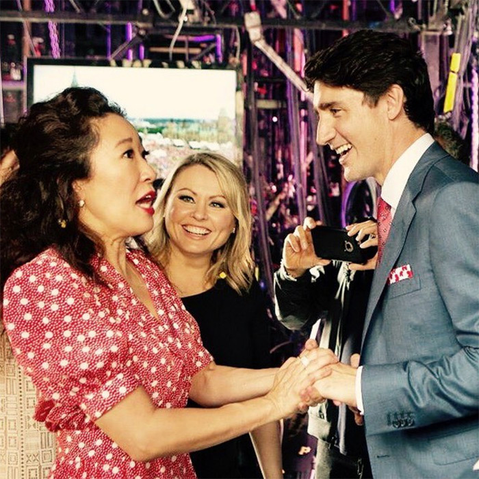 "Sandra was obviously smitten by Prime Minister Justin Trudeau! In a snap following this one, she wrote: ""What can I say? He's totes dreamy."" And most of her fan base agreed!