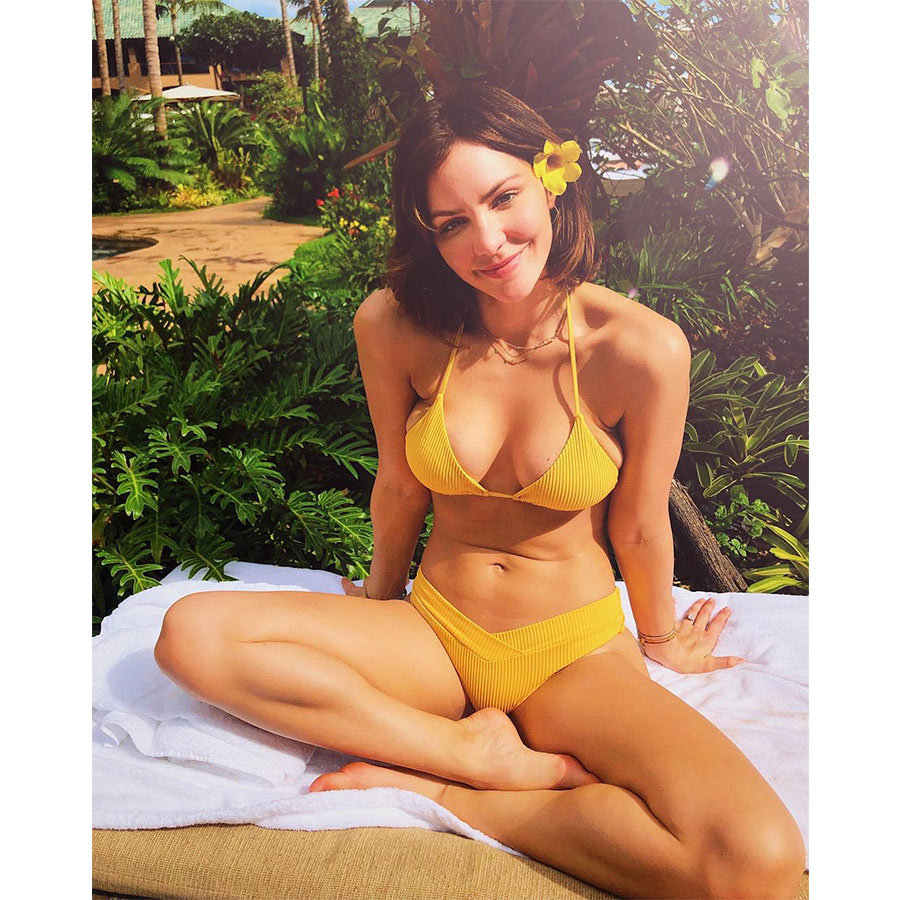 "Katharine wished fans a Merry Christmas in Hawaiian, saying ""mele kalikimaka is hawaii's way..."" alongside this stunning yellow bikini shot in a photo posted a few days after the holiday. Her future stepdaughter, 36-year-old Erin Foster, joked in the comments, ""Grandma!!!! Wtf I don't want to be next to you at the pool.""