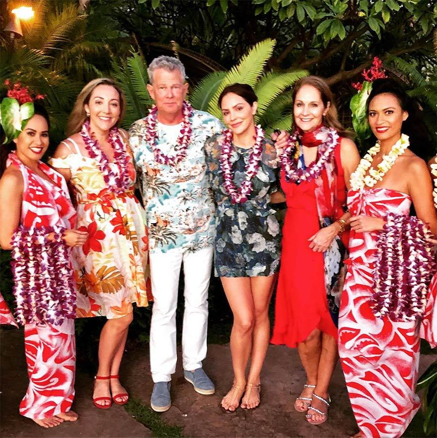 "Aloha! Adriana, David, Katharine and Peisha posed with some local ladies in this beautiful group shot. ""AMAZING time in Lanai,"" Peisha said.