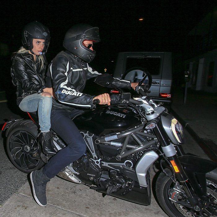 Vroom, vroom! Barely recognizable with his helmet and sunglasses on, Bradley zoomed around Los Angeles with his gorgeous co-star on the back of his Ducati motorcycle back in April 2018.