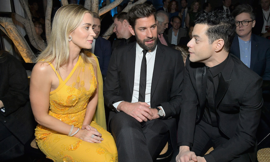 A most talented trio! Emily and John chatted with <em>Bohemian Rhapsody</em>'s leading actor Rami Malek at the AACTA International Awards.