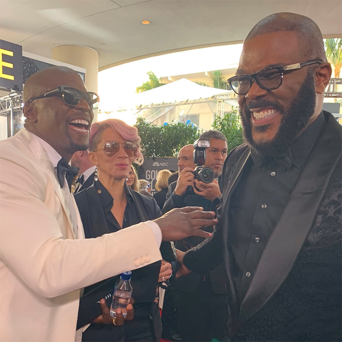 "Terry Crews was pretty happy to be meeting the legendary Tyler Perry! ""I AM HAVING SO MUCH FUN,"" he wrote on Twitter.