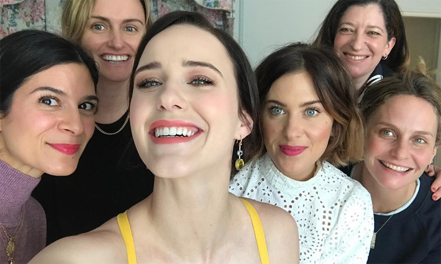 "Rachel Brosnahan cheesed with her closest gal pals before hitting the red carpet! ""Grateful for this girl gang,"" she captioned the snap.