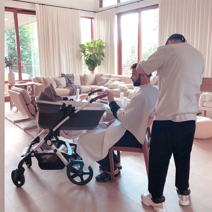 Ricky Martin was the ultimate multi-tasker, sneaking some baby time while getting ready for the awards show.