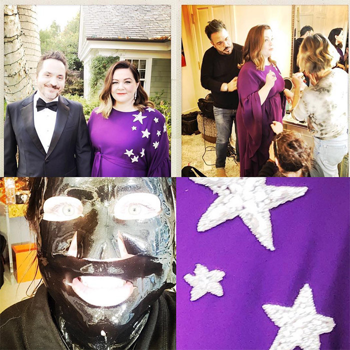"Melissa McCarthy showed off some of her steps to getting ready, which includes a rather jarring face mask! ""It takes a village, a face mask, a hubby and a constellation,"" she wrote on Instagram.