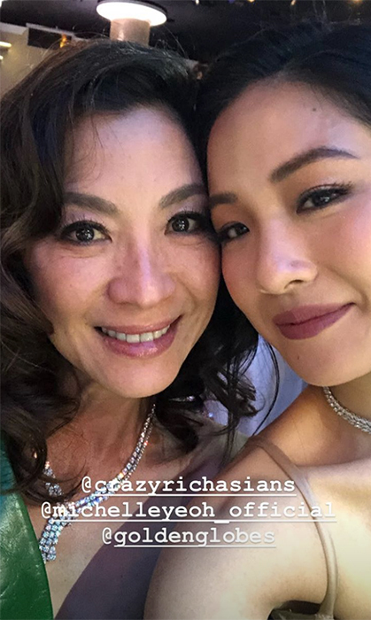 <em>Crazy Rich Asians</em> leading ladies Michelle Yeoh and Constance Wu took a glamorous selfie together.