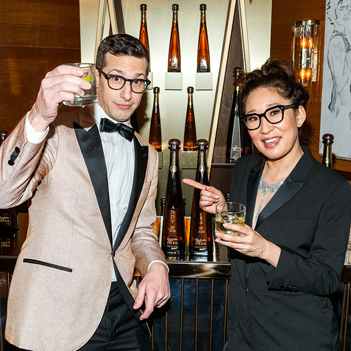 Cheers! After making the crowd laugh for over three hours, co-hosts Andy Samberg and Sandra Oh had a quick outfit change and were off to the Golden Globes after-party! They raised their glasses of Tequila Don Julio 1942, toasting the talent who were nominated and went home with awards.