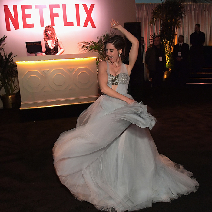 <em>GLOW</em>'s leading lady Alison Brie twirled her way through Netflix's after-party, showing everyone just how fun wearing Vera Wang tulle can be.