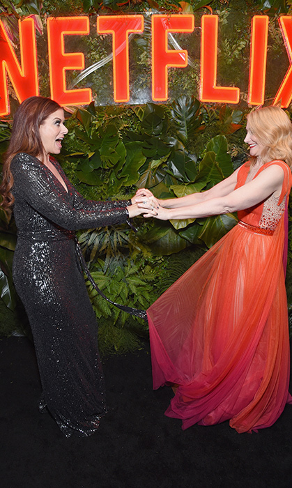 Debra Messing and one of the evening's big winners, Patricia Clarkson, looked equally excited to run into each other at the Netflix after-party.