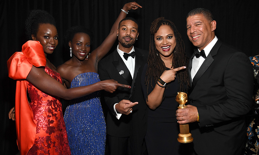 <em>Black Panther</em> stars Danai Gurira, Lupita Nyong'o and Michael B. Jordan, and <em>Wrinkle In Time</em> director Ava DuVernay sung <em>Spider-Man: Into the Spider-Verse</em> director Peter Ramsey's praises at the Instyle and Warner Bros. after party. The action film took home the award for best animated feature. 