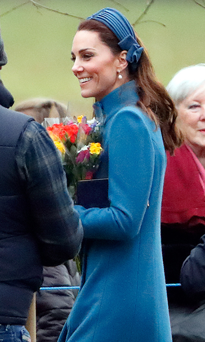 For a surprise church appearance – her and Prince William's first public outing in 2019 – Kate donned one of her favourite colours. The beautiful blue Catherine Walker coat was topped off with a matching blue crepe headband by none other than her go-to headpiece designer, Jane Taylor.