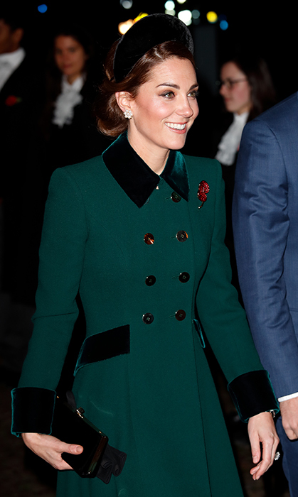 While attending a service to mark the centenary of the Armistice at Westminster Abbey in 2018, the mother of three paired her stunning emerald green Catherine Walker coat with an equally stunning velvet halo band by Jane Taylor. The oversized piece perfectly matched the velvet accents on her recycled coat.