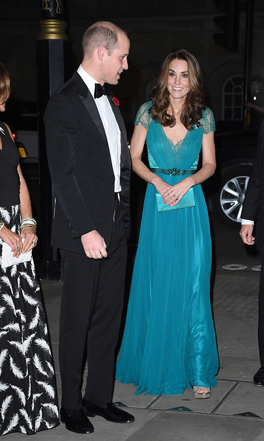 Kate is the queen of recycling amazing outfits, and the Tusk Awards in November 2018 were a great example! The 36-year-old wore one of her favourite teal Jenny Packham gowns as she joined her dapper tuxedo-clad husband, Prince William, for the glitzy event at Whitehall's Banqueting House. She wore silver sandals and carried a matching teal clutch.
