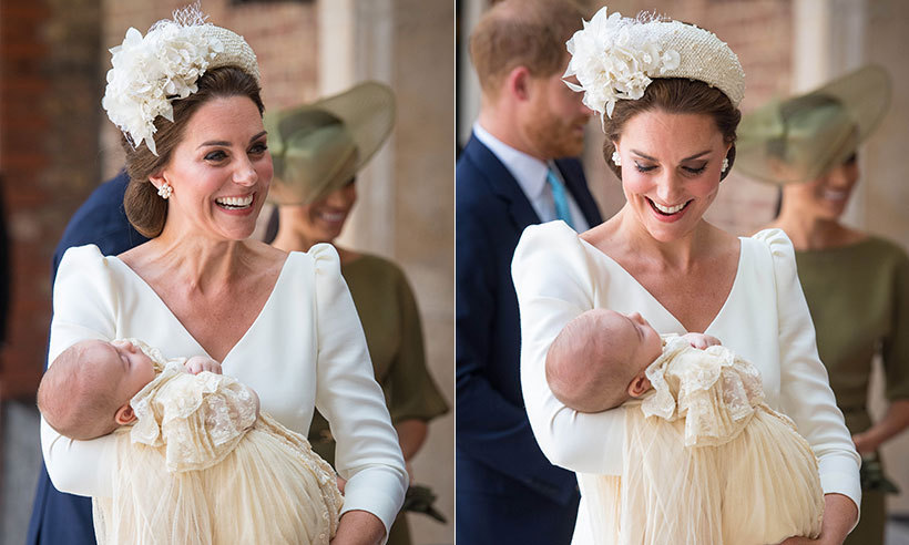 Duchess Kate was positively beaming while holding her newborn baby boy, Prince Louis, at his christening at St James's Palace on July 9, 2018.