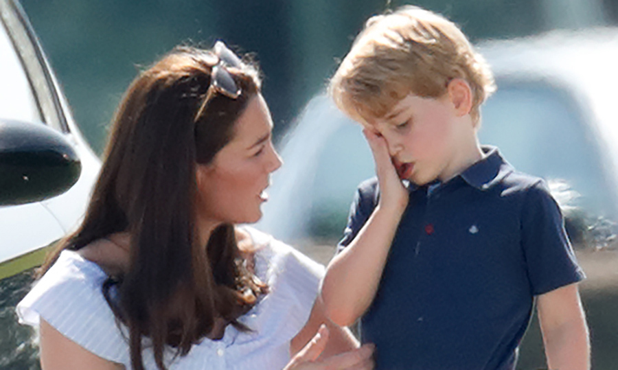 Prince George was consoled by his mom after having a little spill down a hill at a summer polo match in 2018.