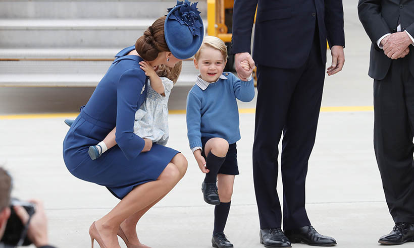 Little George looked very happy to be on Canadian soil as he stepped off the plane at Victoria's airport on Sept. 24, 2016. The youngster dressed to impress in his signature style as he grasped Prince William's hand and smiled at the crowed gathered to welcome him to the Great White North. Of course, Duchess Kate and little Charlotte weren't far behind – his mom knelt down beside him.
