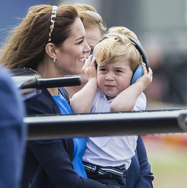 "Everyone knows Prince George loves aircrafts, and his mom clearly delights in taking him to see them! The little Prince was handed his very own pair of ear defenders, and went for a closer inspection with Kate. George was led up the ladder of one of the RAF Aerobatic Team's Red Arrow Hawks by helicopter pilot William, and even had the chance to sit in the cockpit. ""Mummy, can I fly the Red Arrow now?"" he asked Kate, with William gently telling him, ""Not right now.""