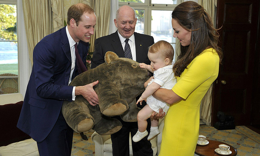 George was welcomed to Admiralty House in Australia by a huge wombat cuddly toy - one of many gifts the youngster received during his first official tour.