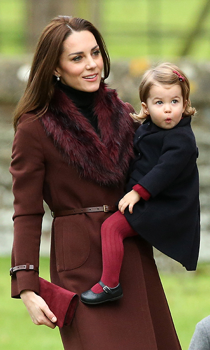 On Christmas Day in 2016, Charlotte arrived to church in the arms of her mother, who was impeccably dressed for the occasion.