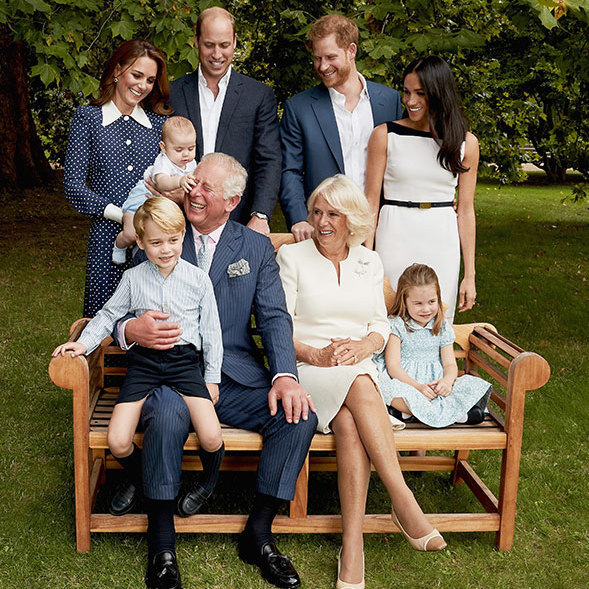 To mark Prince Charles' milestone 70th birthday, the Duchess of Cornwall, the Cambridges and the Sussexes all gathered at Clarence House to pose for casual portraits with the future king. And we just can't get over how cute baby Prince Louis looks, having a grab at grandpa Charles's nose!