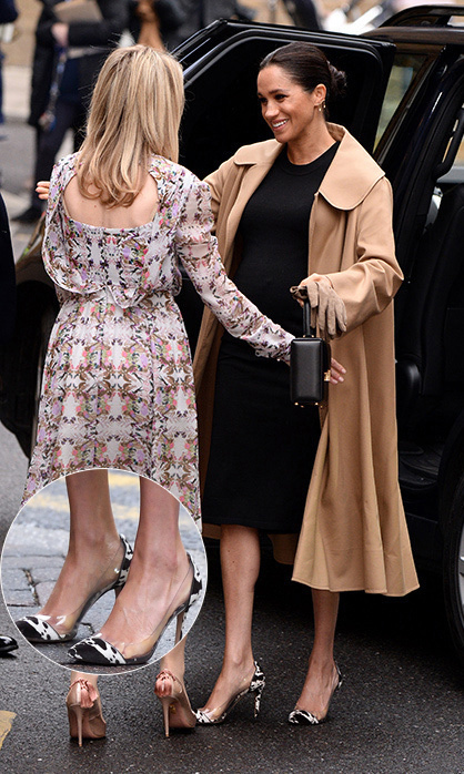 Duchess Meghan paid her first visit of the year to Smart Works – one of four patronages given to her – on Jan. 10 to help style women looking for employment. Fans went wild at getting another glimpse of the mom-to-be's growing baby bump in a fitted Hatch maternity dress, which she paired with a camel Oscar de la Renta swing coat and chic cow-print Gianvito Rossi pumps with clear plastic sides. She accessorized with the Vanity Box Bag by Victoria Beckham, keeping her hair up in her trademark bun.