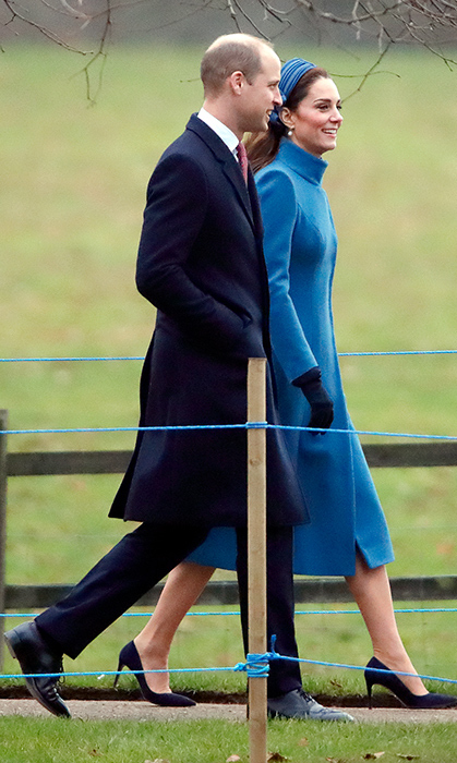 Duchess Kate and Prince William stepped out for an unofficial outing to attend church on Jan. 6. The mother of three dazzled in a blue recycled Catherine Walker coat, paired with blue suede pumps and a Jane Taylor headband.