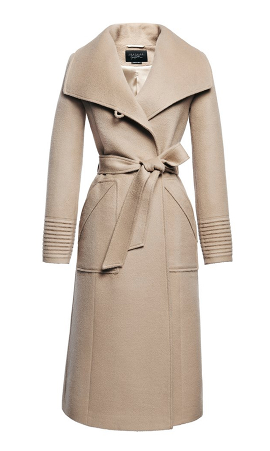 Meghan wore Sentaler's Long Wide Collar Wrap Coat in 2017 for church at Sandringham.