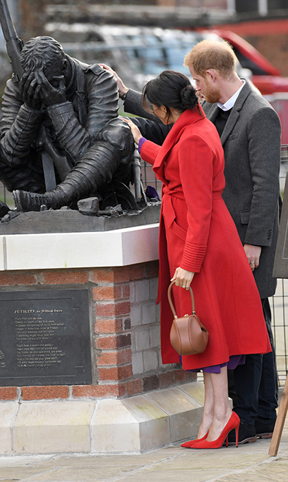 Prince Harry and Meghan viewed a new sculpture erected in November to mark the 100th anniversary of Wilfred Owen's death during their visit.