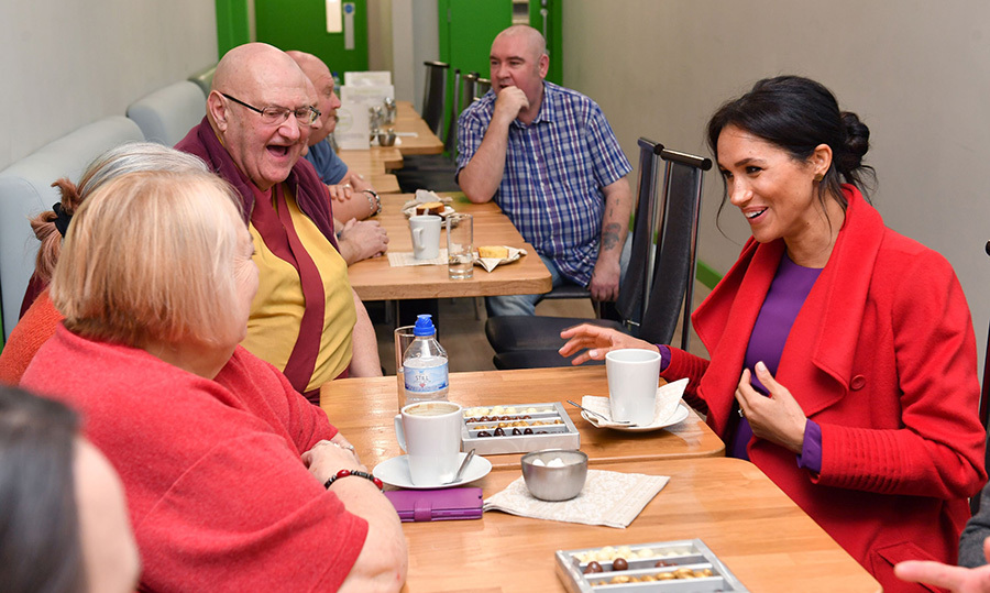 "They met with local residents as they officially opened the community cafe during their visit. After being offered a coffee, pregnant Meghan said, ""I can't at the moment, sadly, but I can have a mint tea or something.""