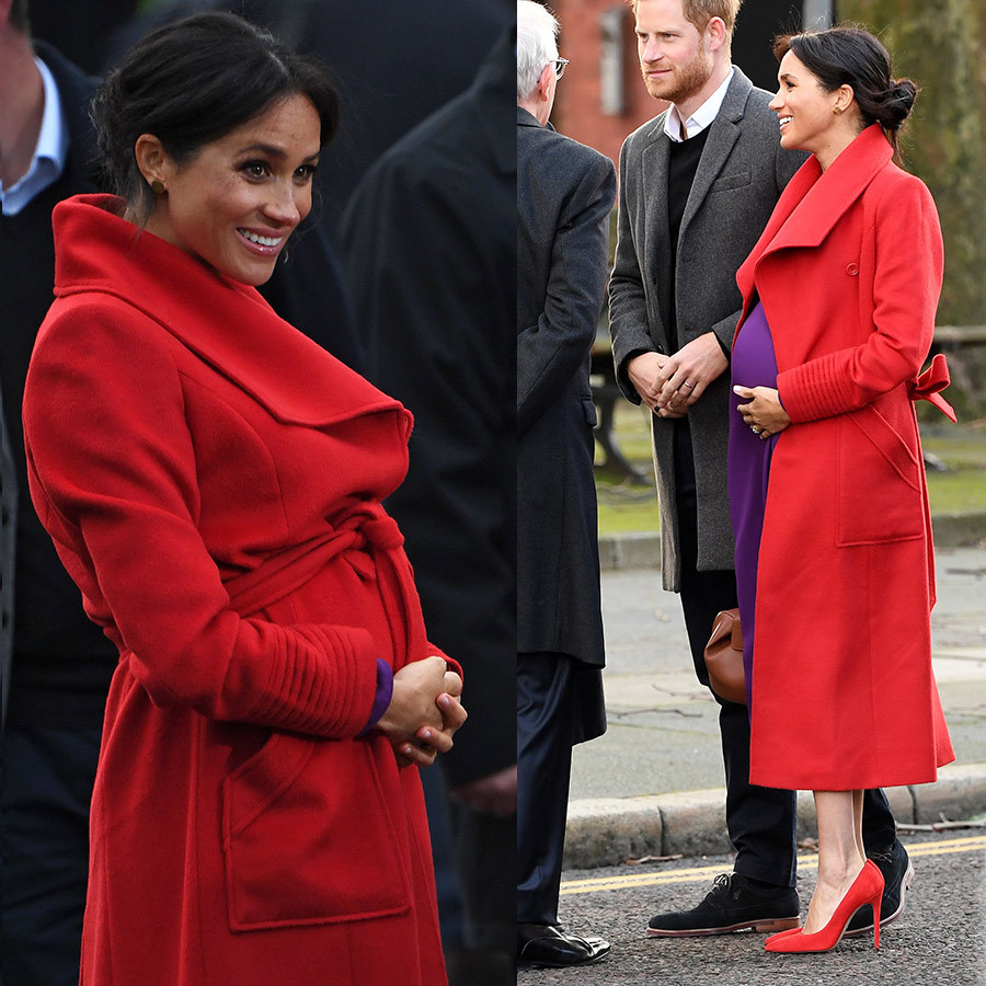 Meghan showed how to wear the wrap coat pregnant, both open and closed!