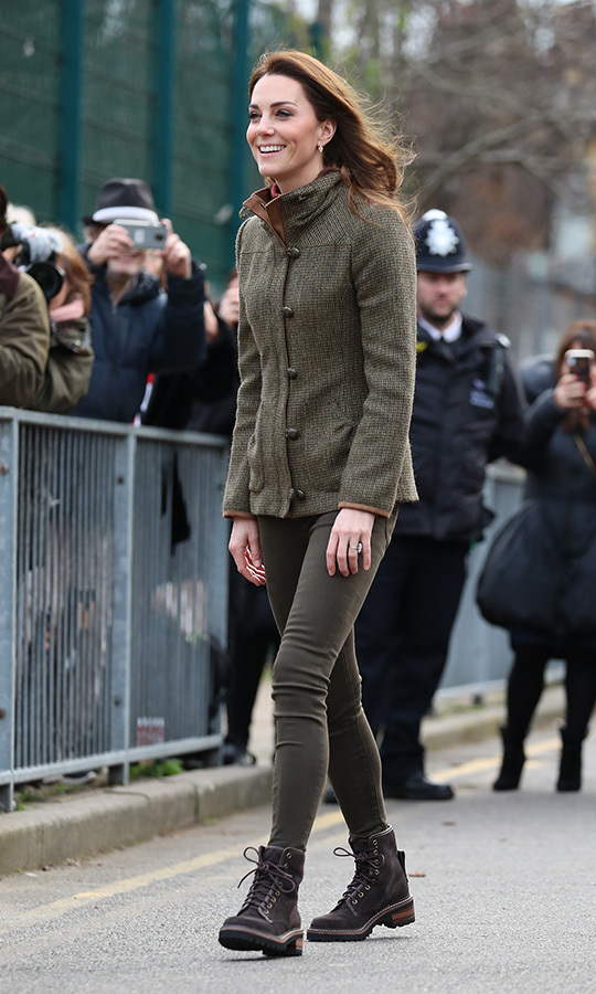 Keeping her look appropriately casual, Kate was still the picture of elegance as she arrived at the garden. The 37-year-old, who celebrated her birthday on Jan. 9, wore a Dubarry Bracken tweed jacket with a high neck, her olive skinny jeans, a maroon turtleneck sweater and hiking boots that some have identified as See by Chloe. 