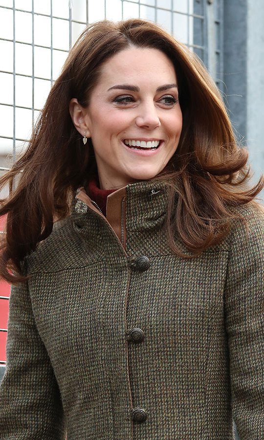 The brunette beauty's locks were particularly bouncy as she made her fun-filled return to royal work, marking her first engagement of 2019. Kate's beauty look was particularly natural as she wore a very nude pink lip, a lighter version of her typical smoky eye and rosy cheeks. 
