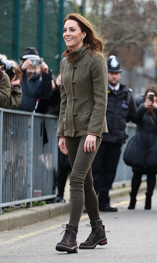 The duchess also debuted a new pair of See by Chloe hiking boots!