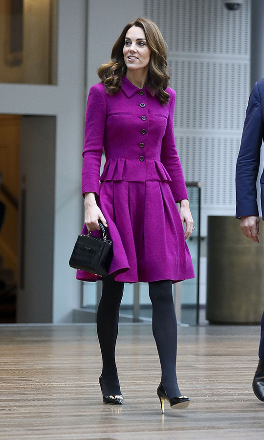 "A big change from her casual-cool ensemble at yesterday's King Henry's Garden Walk visit, where she got <a href=""https://ca.hellomagazine.com/royalty/02019011549399/kate-middleton-islington-kids-pizza-birdhouses-photos"">crafty with kids making pizza and bird feeders</a>, Kate arrived at the Royal Opera House looking every inch the elegant royal as she explored the costume department and met ballet dancers. In 2017, the mother of three became patron of the Covent Garden performing arts venue, where she took Princess Charlotte to see <em>The Nutcracker</em>.