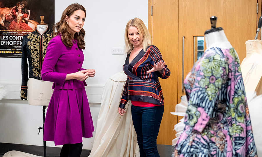 Kate chatted with head of ladies workroom Catriona Paterson during a visit to the costume department. The Royal Opera House Costume Department is responsible for creating, refurbishing and conserving thousands of opera and ballet costumes per season, with up to 600 costumes per production.