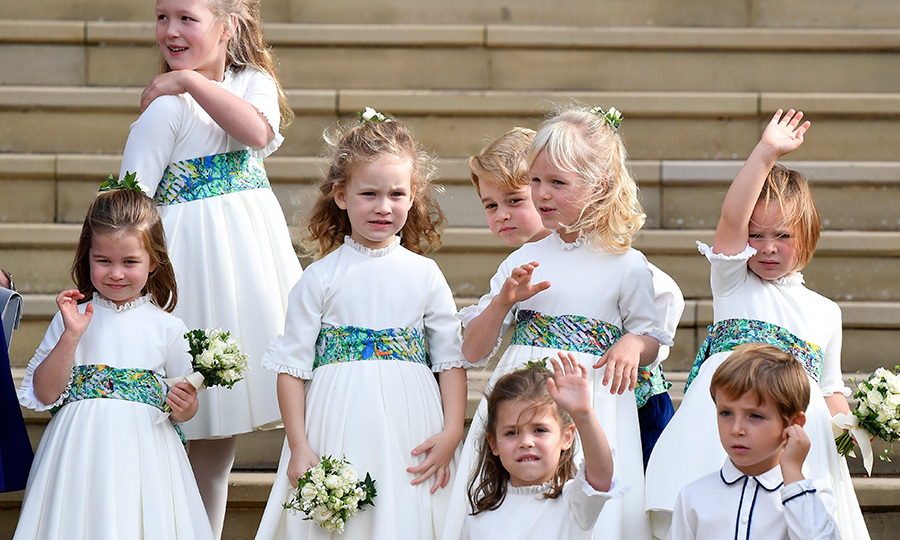 Another wave from St George's Cathedral west steps! Mia joined the other bridesmaids – like Princess Charlotte! – and pageboys for an adorable Kodak moment.