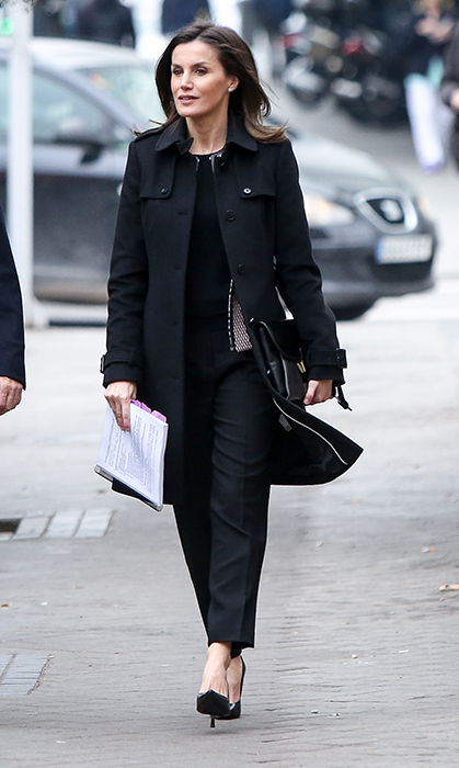 Queen Letizia made the sharpest businesswoman while attending a FEDER (Spanish Federation for Rare Diseases) meeting in Madrid on Jan. 17. She looked ready to work in an all-black ensemble, anchored with chic patent leather heels and an oversized clutch.